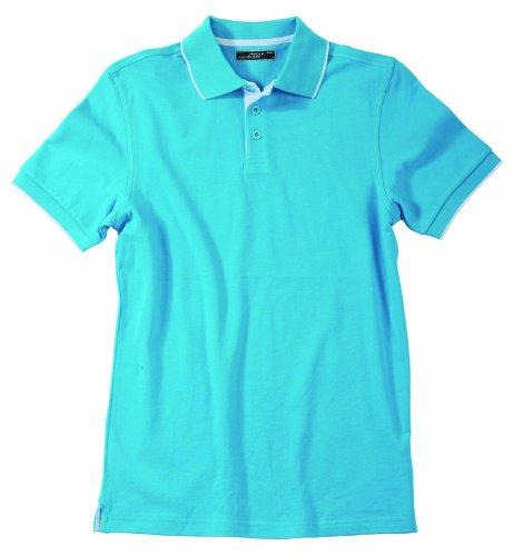 James & Nicholson Herren Poloshirt Turquoise/White