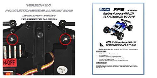 FPS RTR Bundle: Rayline Funrace FR01S D, A969-B, RC 2.4G Speed Elektro PRO Truggy Buggy, ferngesteuert, Pistolenfernbedienung, bis 70 kmh, 540er Motor, Metall Upgrade, 1:18 + 1x LiPo 1400 mAh Akku+ 4x AA Batterien - 2