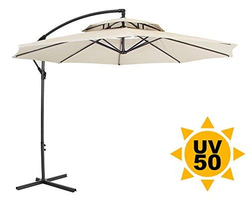 Ondis24 Ampelschirm 3 Meter Sonnenschirm mit Kurbel, Gestell aus Stahl, mit Kreuzständer, UV 50, Beige