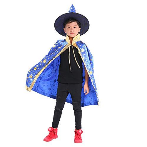 Riou Kinder Langarm Halloween Kostüm Top Set Baby Kleidung Set Kinder Erwachsene Kinder Halloween Baby Kostüm Zauberer Hexe Mantel Cape Robe + Hat Set Kinder Er (Freie Größe, Blau)