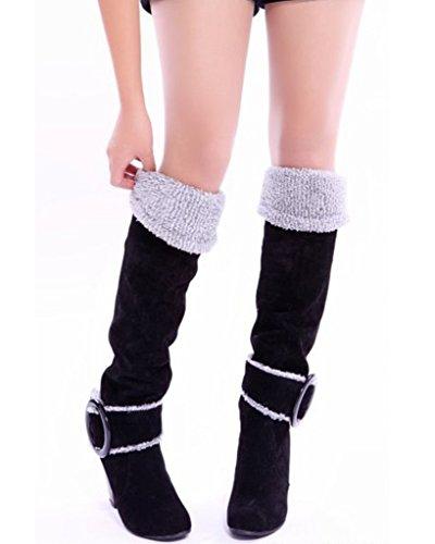 Minetom Femme Automne Hiver Genoux Boots Talon Haut Boucle Bottes Chunky Talon Biker Bottes Noir