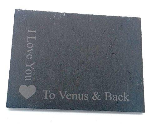 Preisvergleich Produktbild I love you to Venus und Rückseite quadratisch grau Slate Herz Motiv Neuheit Geschenk Single One Untersetzer für Getränke