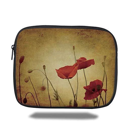 Tablet Bag for Ipad air 2/3/4/mini 9.7 inch,Poppy,Poppies and Flower Buds on Ambient Dark Grunge Background with Retro Effects Bohemian,Cream Red,Bag (Poppy Von Coach)