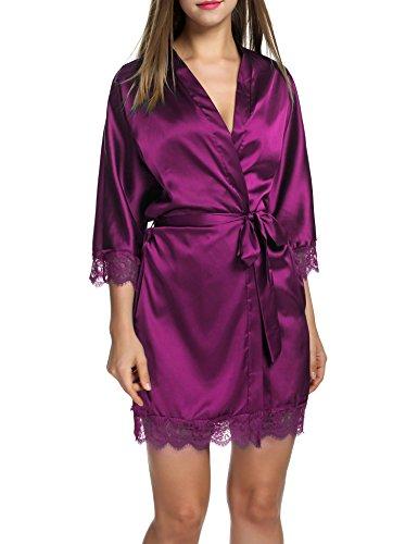 Rosa Mantel Stil Pyjama (HOTOUCH Damen Satin Kimono Nachthemd Nachtwäsche Pyjama Set Morgenmante Bademäntel Schlafanzüge Mit Tiefer V-Ausschnitt Blumenspitze)