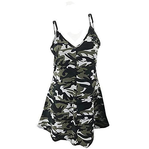 FRAUIT Sommerkleider Damen Camouflage Ärmelloses Sling Kleid Strand Swing Kleid Lose Casual Kleid Rundkragen Strandkleid Kleider MiniKleid
