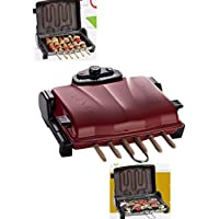 ERA SM-2 GRILLEX 4in1 Barbecue-Elektrogrill mit Haube/elektrischer Tisch-Grill/ sparsames (1200 Watt) stufenlose Hitzeregulierung THERMOSTAT/ grillen ohne Qualm und Geruch, durch geschlossenes System und oben angebrachtes Heizelement (kein tropfendes Fett auf das Heizelement)/ Farbe: Rot/ rostfreies Aluminium-Gehäuse antihaft-beschichtet TEFLON (spülmaschinengeeignet)/ komplett zerlegbar – durch leicht abnehmbares Heizelement Klippverschlüsse/ inklusive 6 Spieße und einem praktischem Grillwender