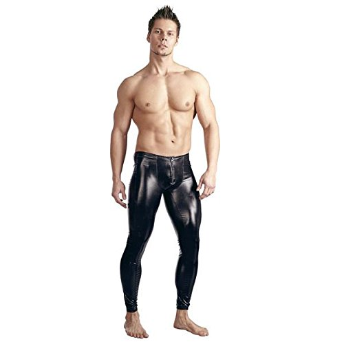 Männer Sex Kostüme (Svenjoyment Herren Leggings Wetlook Hose schwarz)