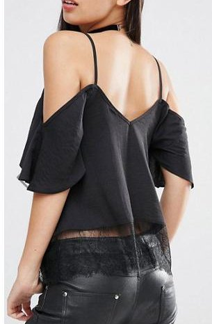 Damen Shirt Kurzarm V Ausschnitt Rückenfrei Vintage Elegant Sommer Tank Top Hemdblusen Schwarz