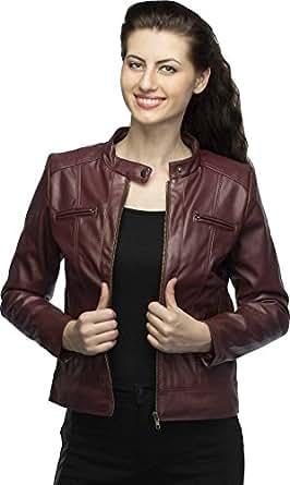 Life Trading Fashionable Maroon Pu aleather Jacket for Womens and Girls (Medium)