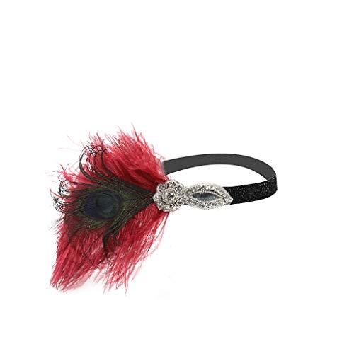 Damen 1920s Feder Stirnband Great Gatsby Blatt Blinkende Kristalle Haarband, LEEDY Stil Flapper Art Deco Inspiriert Party im Retro Style Haarband Stirnbänder Kostüm Accessoires