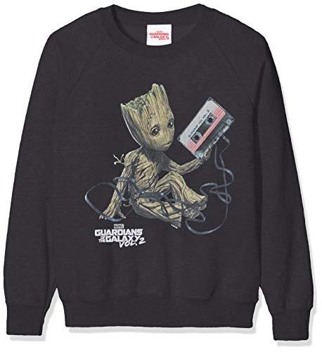 Marvel Mädchen Guardians of The Galaxy Vol2 Groot Tape, Schwarz (Black Blk) 7-8 Jahre (Herstellergröße: 7-8Y)-Sweatshirt