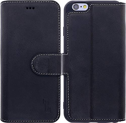 Burkley Hülle kompatibel mit iPhone 6 / 6S - Rindsleder Handyhülle für Apple iPhone 6 / 6S - Handy Wallet Case Cover mit RFID Schutz - 6 Iphone Vertikal Leder Case