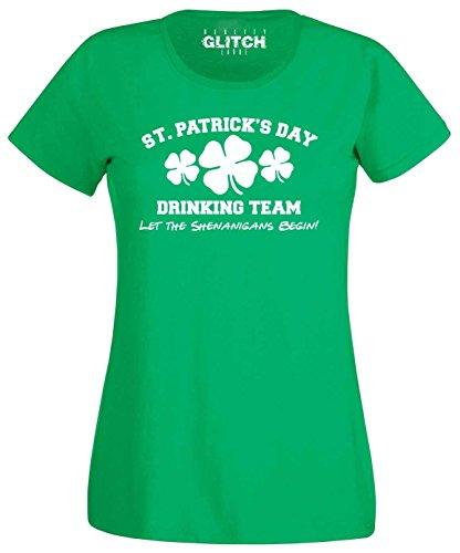 Reality Glitch Damen T-Shirt St. Patrick's Day Drinking Team (Irisches Grün, ()