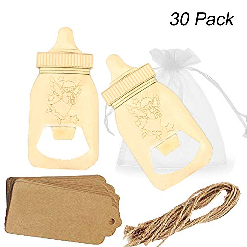 Amajoy 30er-Packung für Babyparty, Geschenk für Gäste, Poppin, Babyflaschenform, Flaschenöffner mit durchsichtiger Tasche, Hochzeit, Party, Souvenir, Geschenk-Dekorationen