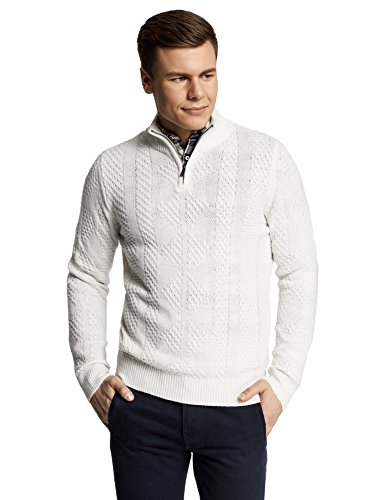 oodji Ultra Herren Pullover mit Reißverschluss am Halsausschnitt, Weiß, DE 58-60 / XXL (Dunk Shop Sneakers)