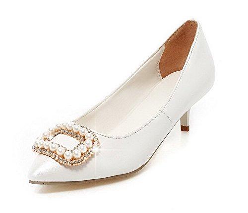 AgooLar Femme Tire Pointu à Talon Correct Pu Cuir Couleur Unie Chaussures Légeres Blanc