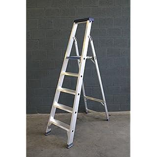 ASC Stufenstehleiter, Alu-Trittleiter, Standleiter, 5 extrabreite Stufen, N-EN 131 bis 150 kg, Profi-Qualität