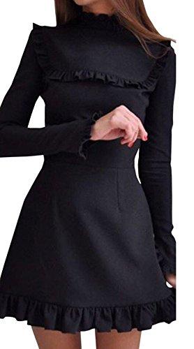 Frühling und Herbst Damen Minikleid Mode Lotusblatt Seite Kleider Wickelkleid Partykleid...
