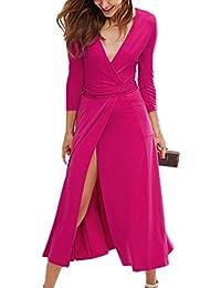 ecc20a949a373 Summer Mae Robe Sexy Maxi Longue Cintrée à 3 4 Manches Col V pour Femme
