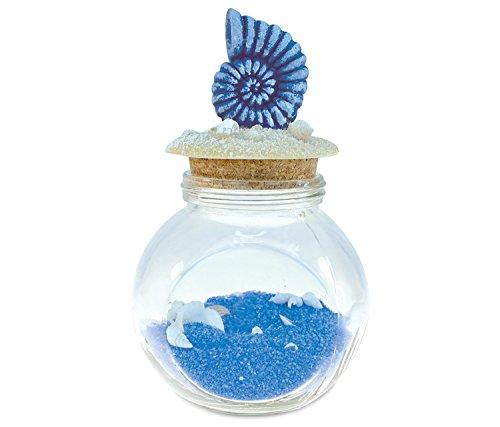 Verwirrt, blau Shell Flasche mit Quarz blau sand und Muscheln Handarbeit Holz Maritimes Dekor–Ocean/Sea Life Thema–Einzigartige Elegantes Geschenk und Souvenir–Artikel # - Sand-souvenir-flasche