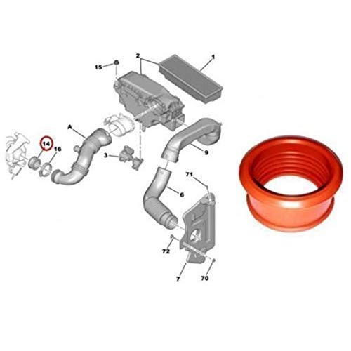 Peepheaven Manchon DE Tuyau d'air Turbo pour Peugeot 206 207 307 308 407 Expert Partner 1.6 HDI - Rouge
