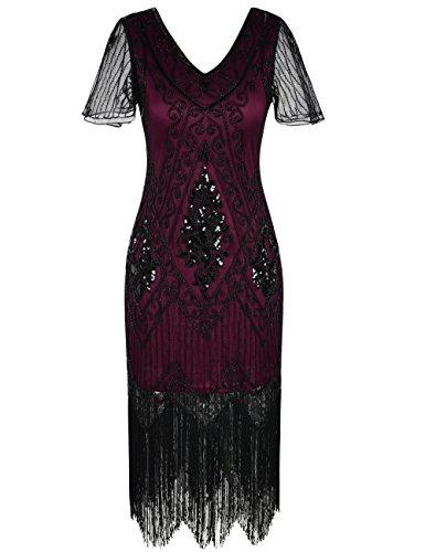 Kayamiya Damen 1920er Jahre Vintage Gatsby Kleid Ärmel inspiriert Perlen Pailletten Cocktail Flapper Kleid XXL Burgund
