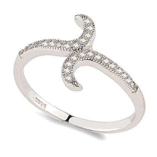 QINGZHOUQI Versprechen Ring for Damen Weißgold vergoldet Kupfer CZ Diamond Ring for Engagement (Color : I, Größe : 9#) (Größe Damen Ringe Diamond Black 7)
