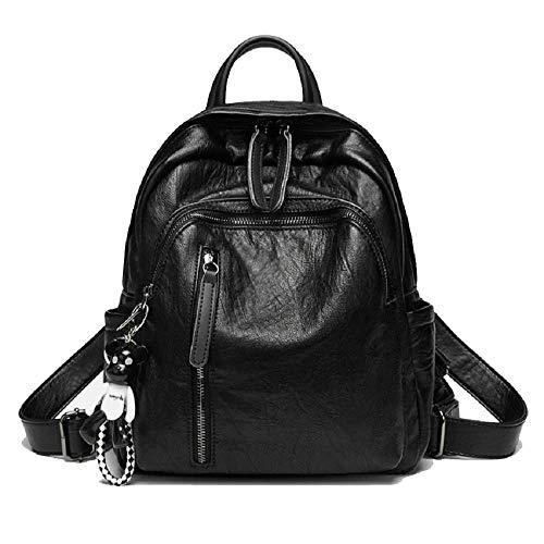 QERTYU Rucksack Weiblichen Koreanischen Version Der Wilden Flut Mode Studenten Aus Weichem Leder Rucksack Einfachen Trend Freizeit Reisetasche Schwarz 31X10X25Cm