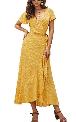 Spec4Y Damen Boho Lange Kleider V-Ausschnitt Sommerkleider Kurzarm Wickelkleid Maxikleid Strandkleid mit Schlitz Gelb S - Strand Kleid Hochzeit Boho