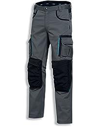 Uvex tune-up 8909 Arbeitshose Bundhose mit abriebfesten Cordura, Kniepolster-Taschen, viele Seitentaschen, grau schwarz