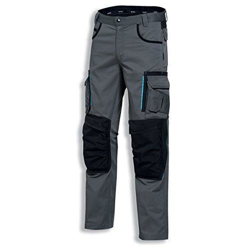 Arbeitshose (Uvex tune-up 8909 Arbeitshose Bundhose mit abriebfesten Cordura, Kniepolster-Taschen, viele Seitentaschen, grau schwarz)