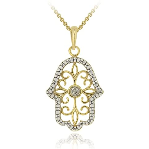 Or 18 carats sur argent Sterling diamant Accent filigrane collier pendentif Main de Fatma