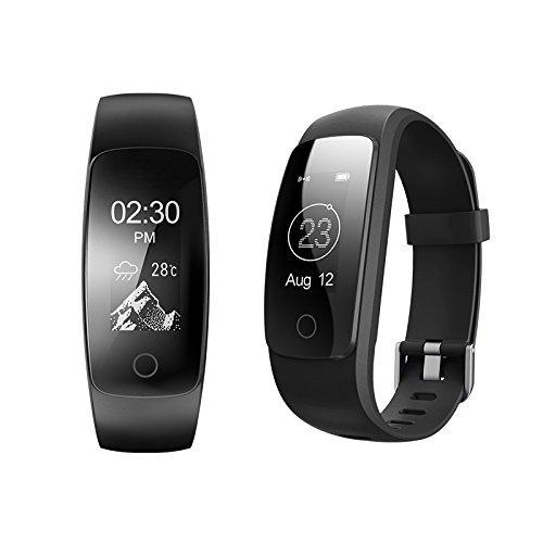 Fitness Tracker ID 107 Plus HR, Tigerhu Smart Armband Activity Tracker Schrittzähler Uhr Fitness Health Smartwatch Armband mit Herz Rate Monitor, Schritt Tracker, Sleep Monitor, Kalorienzähler, GPS Anschluss, Wetter für Android und IOS. -