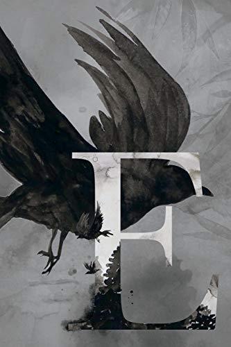 E: Petit Journal personnel de 121 pages lignées avec couverture corbeau et lettre E par Phil Polissou