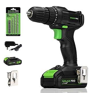 GALAX PRO Taladro Atornillador, 20V Batería 1.3Ah con Cargador, 19 + 1 Posiciones par Max 20 N.m, Luz de trabajo LED, Portabrocas de 10 mm/GP95604