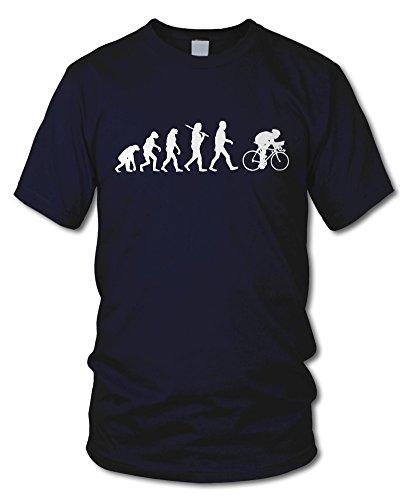 shirtloge - EVOLUTION RADFAHRER - KULT - Fun T-Shirt - in verschiedenen Farben - Größe S - XXL Navy