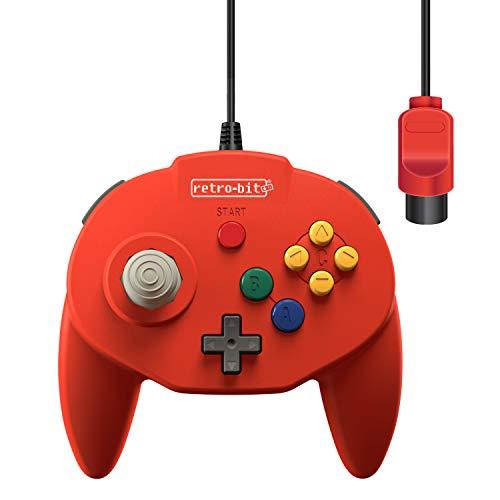 Retro-Bit Tribute 64 Controller für Nintendo 64, Original-Anschluss, Rot (Nintendo Retro Controller)