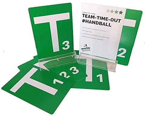 Handball Team-Time-Out-Tafel Komplett Set, mit 6 Grünen Karten A5, PVC mit abgerundeten Ecken, nummeriert von 1 bis 3 gem. Handballregeln, passenden Acryl - Tischständern und Schiedsrichterkarten