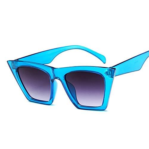 ZCFDMJ Sonnenbrillen Mode Niedlich Retro Cat Eye Sonnenbrille Frauen Vintage Markendesigner Runde Sonnenbrille Für Weibliche Farbe Objektiv Uv400Blau