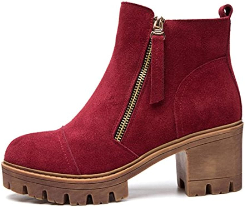 KUKI autunno e inverno donne stivali retrò Martin stivali lato zip donna con tacco alto scarpe impermeabili scarpe... | Queensland  | Uomo/Donne Scarpa