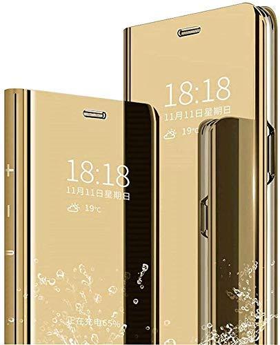 Happy 1st Funda Compatible con Xiaomi Mi 8 Lite, Carcasa Espejo Mirror Flip Caso Clear View Standing Cover Mirror PC + PU Case Protectora Cubierta para Xiaomi Mi 8 Lite Smartphone, Dorado