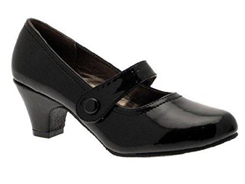 Ladies Y620 Black Low Block Heel Court Mary Jane Work Comfort Shoes Size 3-8 (UK 6/ EU 39, Black Patent)