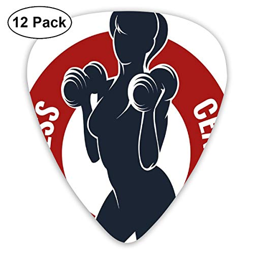 Guitar Picks - Abstract Art Colorful Designs,Fitness Center Emblem Like Design Woman Silhouette Working Out Stay Young,Unique Guitar Gift,For Bass Electric & Acoustic Guitars-12 Pack -