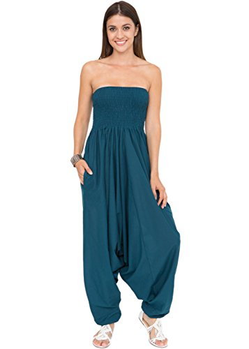 likemary Extraweite Damen Haremshose - Einteiler aus Baumwolle - Jumpsuit Overall - Pluderhose mit Bandeau Oberteil - Größen 36 bis 44 - Vielseitig anpassbar blau grünblau