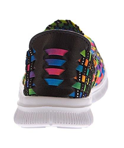 3c4a9cc7fe5764 Damen Ballerinas geflochten Slipper flach Sneaker elastisch Halb Schuhe  Bunt Sandalen Gr 36 41 Mehrfarbig