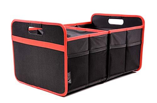 stuff from above® Kofferraumtasche, Rot, groß, aus Polyester (57x35x30cm) - Carorganizer mit Klett - Zubehör für Kofferraum Falttasche Einkaufstasche Faltbox Ordnungssystem Tragetasche (rot)