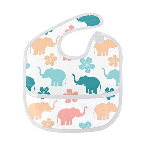 Babero con diseño de elefantes coloridos, impermeable, de secado rápido, cómodo para...