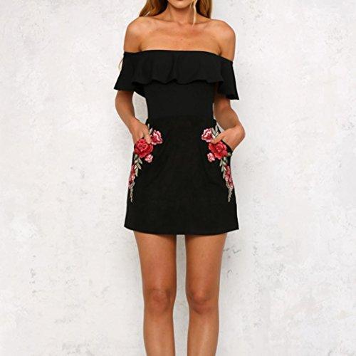 Rcool Frauen Applikationen Rose Bedrucktes Kleid Slash Neck Strap Dress  Schwarz