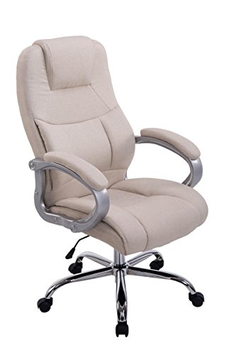 SIKALO XXL Chef-Sessel ergonomisch und rückenschonend - belastbar bis max 210kg, Schreibtischstuhl mit hochwertiger Polsterung in Cremefarben, Bürostuhl drehbar und höhenverstellbar