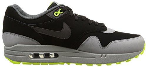 Nike Air Max 1 LTR 654466-007 Herren Mens Sneaker Shoes Schuhe Multicolore - (Black/Dark Grey-Silver-Volt)